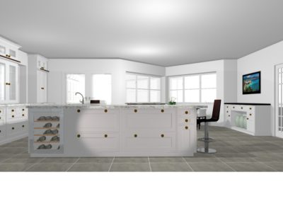 Perspective Kitchen hob part of island